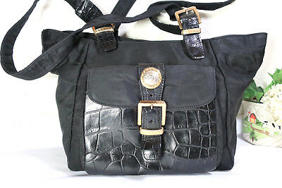 Vintage GIANNI VERSACE Black Nylon Leather Tote Shoulder Bag Medusa Face  Italy f223d9b814d95