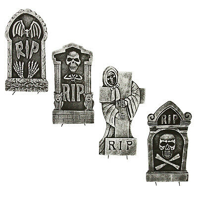 Halloween Haunters 4 Scary Graveyard RIP Foam Grave Tombstones Prop Decoration