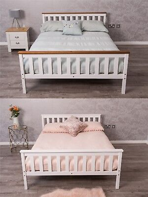 4FT6 Double Bed Solid Pine Wooden Bed Frame Bedroom Furniture - White or Oak Top
