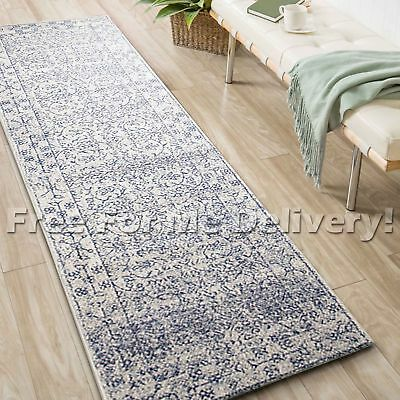 SULIS ALLOVER IVORY BLUE TRADITIONAL RUG RUNNER (XL) 80x500cm **FREE DELIVERY**