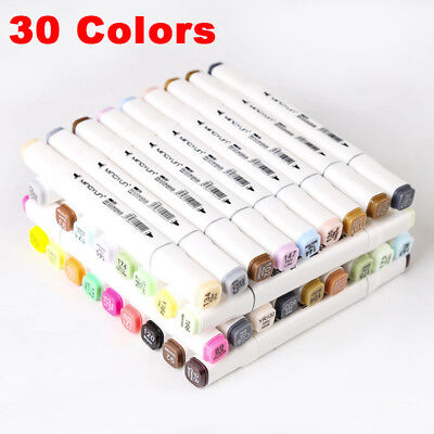 AU 30 Colors Dual Headed Artist Sketch Copic Markers Pen For Animation Set