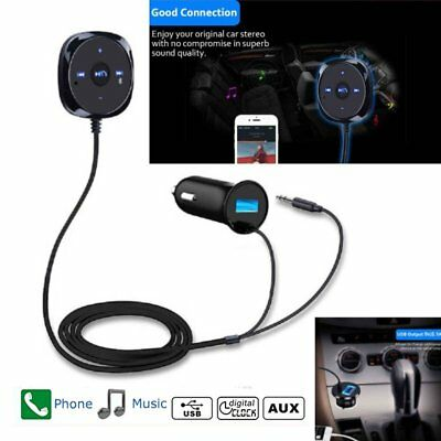 Bluetooth Handsfree Audio Music Receiver Adapter Car Kit AUX Dual USB Charger