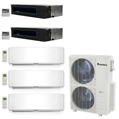 Klimaire 5-Zone 52K BTU 20 Seer 12K X3 Wall 12K X2 Ducted AC Mini Split Heat