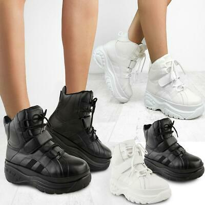 Womens Ladies High Platform Trainers Sneakers Retro Boots Hi Top Wedge Punk Goth