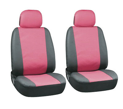KIA CARENS - Leather Look CALYPSO Pink/Black FRONT Car Seat Covers