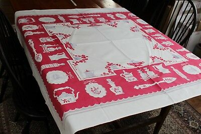 Vintage Cotton Kitchen Tablecloth 46x50 Pink & Gray