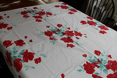 Vintage Cotton Kitchen Tablecloth 48x54 Wilendur Shaded Red Roses