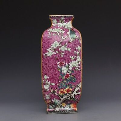 Boutique Jingdezhen  Enameled Gold Four-Square Flower and Bird Vase Porcelain