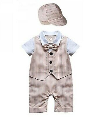 Baby Page Boy Christening Formal*Wedding*Tuxedo 1pc Suit with Hat Free P+P