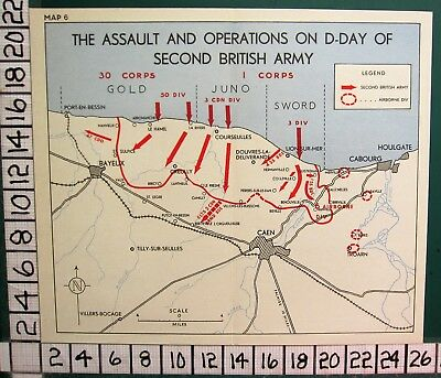 Ww2 Map The Assault & Operations On D-Day Of Second British Army Gold Juno Sword