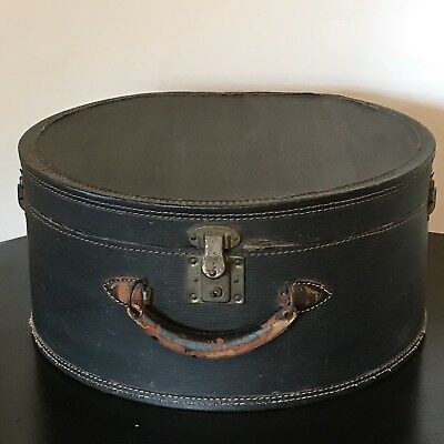 Antique Round Steamer Train Trunk Hat Box Luggage Suitcase w Lock Leather Handle