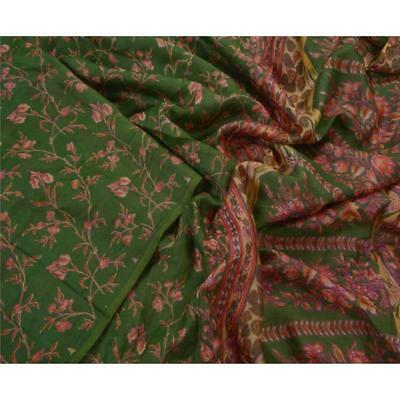 Sanskriti Antique Vintage Green Saree 100% Pure Silk Printed Sari Craft Fabric