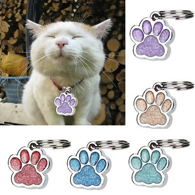 2PCS Personalised Engraved Glitter Paw Print Tag Dog Cat Pet ID Tags Reflective