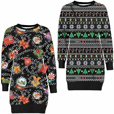 Womens Star Xmas Tree Candy Thermal Novelty Christmas Knit Sweatshirt Jumpers