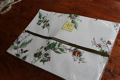 Vintage 4 Lenox Placemats & Napkins Christmas Holly and Wild Canaries