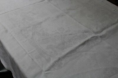 Vintage Fab White Linen Damask Tablecloth 68x84 Tulips and Swirls 4 Sided Hem