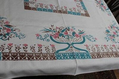 Vintage Cotton Kitchen Tablecloth 46x52 Pink Posies w Aqua & Brown