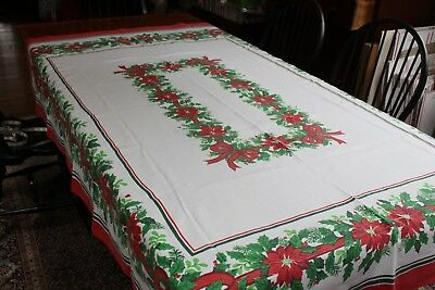 Vintage Cotton Christmas Tablecloth 60x80 Holly Ribbon Poinsettias