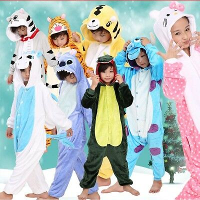 Kid's Flannel Sleepwear Boys Girls Pajamas Kigurumi Cosplay Animal Home Costume