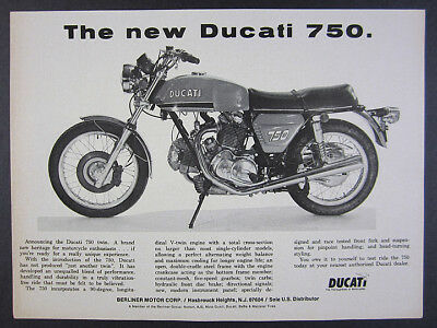 1972 Ducati 750 Twin motorcycle photo vintage print Ad