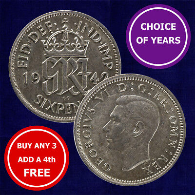 SILVER Sixpence : 1937-1946 George VI Lucky Wedding Birthday 6d Coin Choose Year