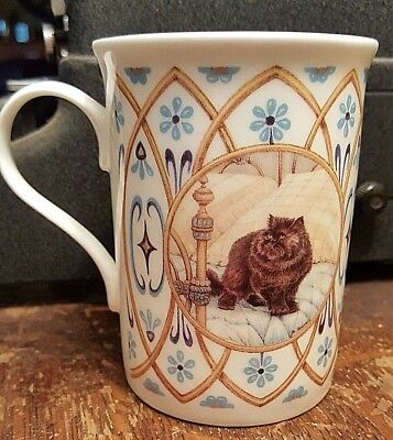 Crown Trent Brown Cat on Bed 10 oz Coffee Cup Fine Bone China England Blu Floral