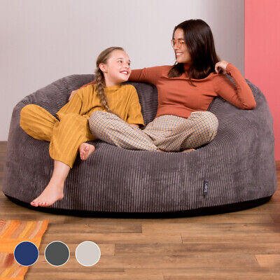 aa9538f631e Icon® Giant Bean Bag Cord Love Seat - Luxury Snuggle Chair Two Seater  Beanbag