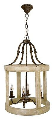 NEW FRENCH EUROPEAN WEATHERED 4 Lights IRON WOOD PENDANT CHANDELIER Old world