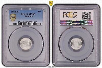 1952(m) MS63 Choice UNC Threepence Australia PCGS Blue Box With Every 2 Coins