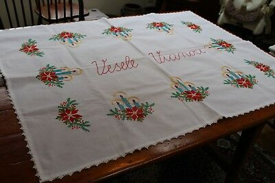 Vintage Christmas Tablecloth 44x72 Satin St Emb Candles w Halos Poinsettias Croc