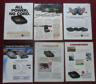 Lot #1 of 21 Diff Police Radar Speed Detector Print Ads ~ Escort Solo & Courier