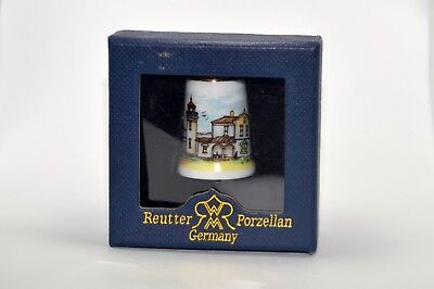 Rare Collectible Porcelain Thimble by Reutter Porzellan- Lighthouse Scene