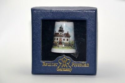 Rare Collectible Thimble by Reutter Porzellan- Lighthouse Cottage Scene