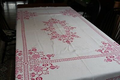 Vintage White Linen Tablecloth 64x80 Fab Hand Embroidery Shades of Pink Posies