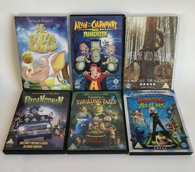 bundle of 6 kids halloween dvds movies vgc paranorman frankenstein shrek bfg