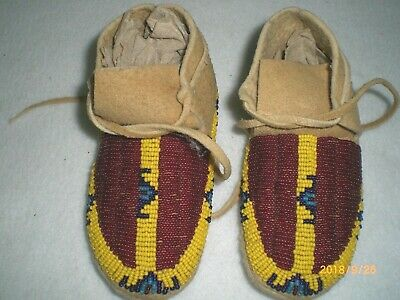 Moccasins, Beaded, Smoked BrainTan, Medium, Toddler Size