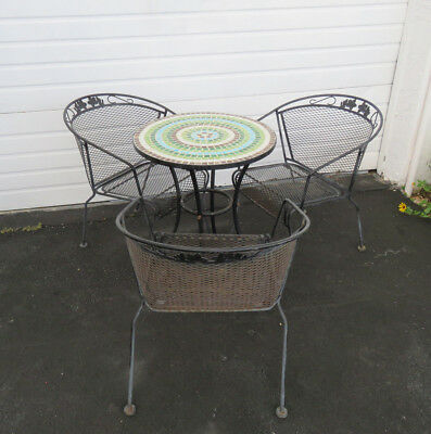 Vintage Patio Outside Metal Round Mosaic Inlay Dining Table and 3 Chairs 9067