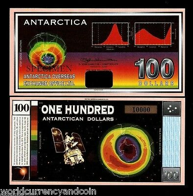Antarctica Usa 100 Dollars New 2001 Ozone Space Map Specimen Unc Money Bill Note
