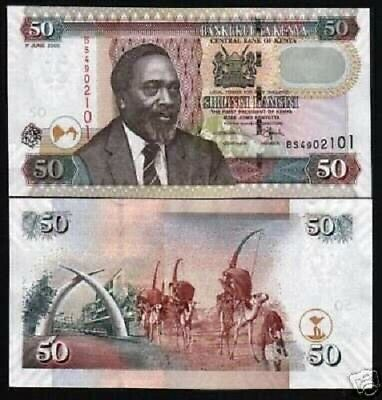 Kenya 50 Shillings P41 2005 Camel Caravan Unc Banknote 10 Pcs Currency Money Lot
