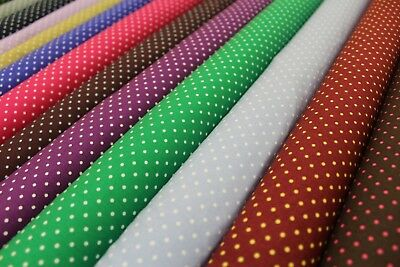 "Polka Dot, Small Spot,100% High Quality Cotton Poplin, 12 Colours, 44"" Wide,"