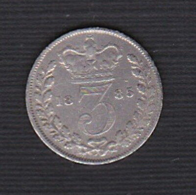 1885 - Great Britain: Queen Victoria vintage - SILVER threepence 3d Hard to find