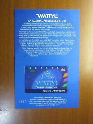 PhoneCards Wattyl $2.00 unused in display card Telstra