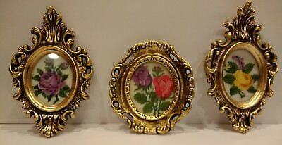 Vtg Small Ornate Oval Metal Picture Frame Framed Needlepoint Flowers LOT Gold