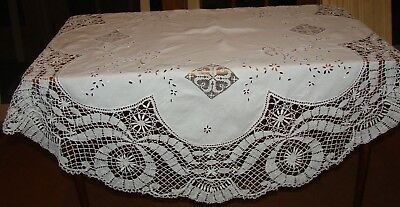 Antique Mixed Lace & Madeira Linen Embroidered Round Tablecloth - 52""