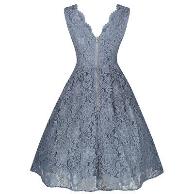 Vintage 1950s Blue Grey Lace Embroidered Bridesmaids Swing Dress
