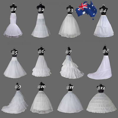 Women White Petticoat Slips Underskirt Formal Hoops Wedding Long Dress Skirts AU