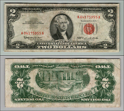 1963 Series $2 Dollar Bill Red Seal United States Currency  LOT Z616