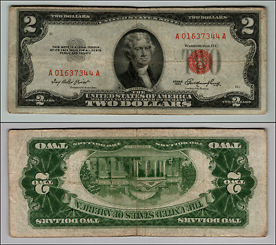 1953 $2 DOLLAR BILL OLD US NOTE LEGAL TENDER PAPER MONEY CURRENCY RED SEAL p853