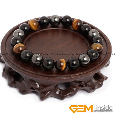 Natural Gemstone Tiger's Eye & Hematite & Black Obsidian Beaded Energy Bracelet