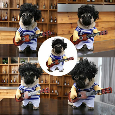 Halloween Party Cosplay Pet Dog Cat Guitar Player Coat Clothes Outfit Custome